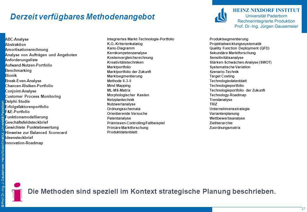 27 © Prof. Dr.-Ing. J. Gausemeier, Heinz Nixdorf Institut, Universität Paderborn Derzeit verfügbares Methodenangebot ABC-Analyse Abstraktion Amortisat