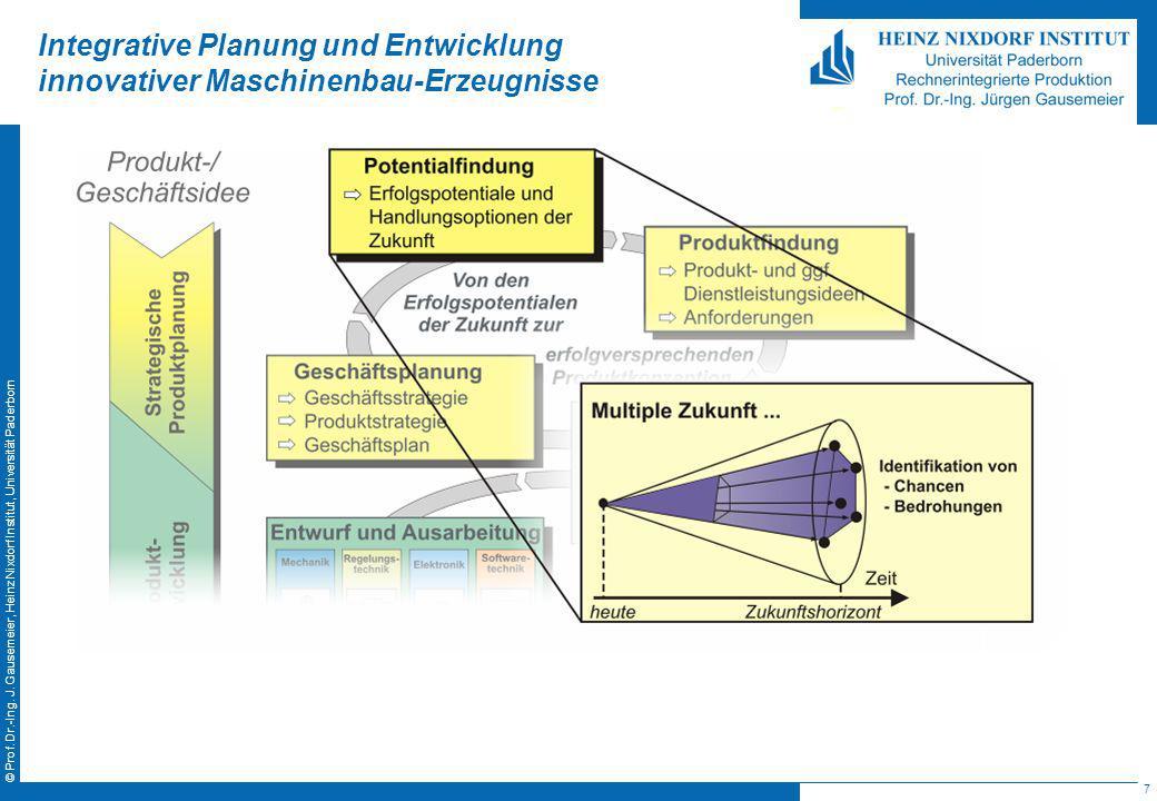 7 © Prof. Dr.-Ing. J. Gausemeier, Heinz Nixdorf Institut, Universität Paderborn Integrative Planung und Entwicklung innovativer Maschinenbau-Erzeugnis