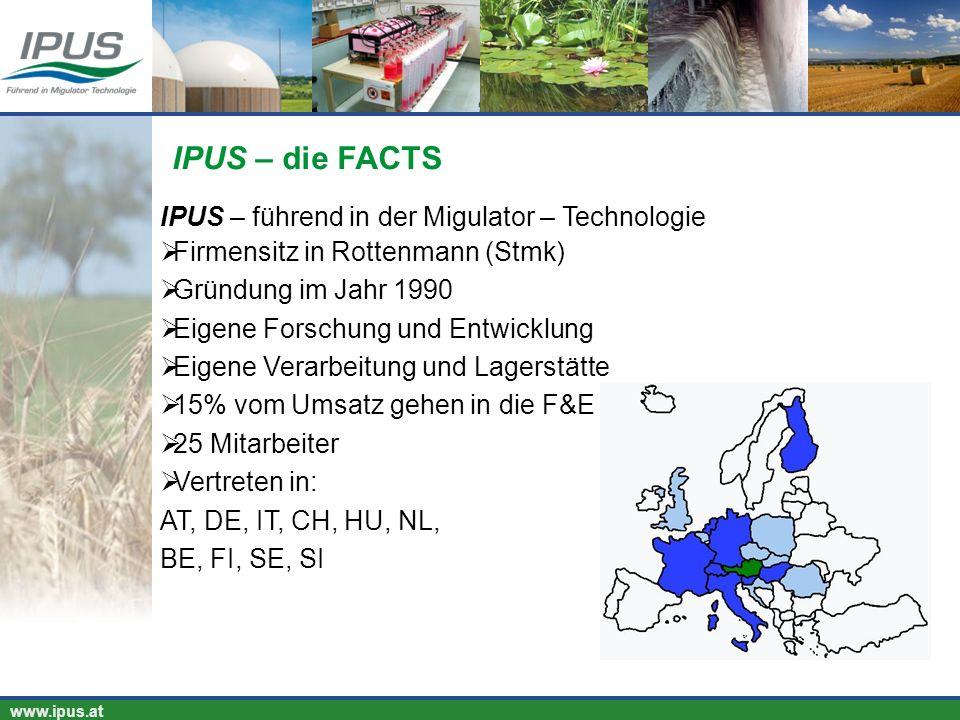 IPUS – für Ihren Erfolg und unsere Umwelt www.ipus.at IPUS – führend in der Migulator – Technologie Firmensitz in Rottenmann (Stmk) Gründung im Jahr 1