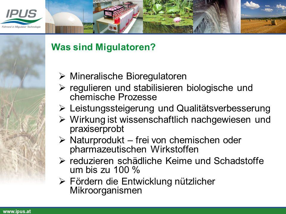 IPUS – für Ihren Erfolg und unsere Umwelt www.ipus.at Mineralische Bioregulatoren regulieren und stabilisieren biologische und chemische Prozesse Leis