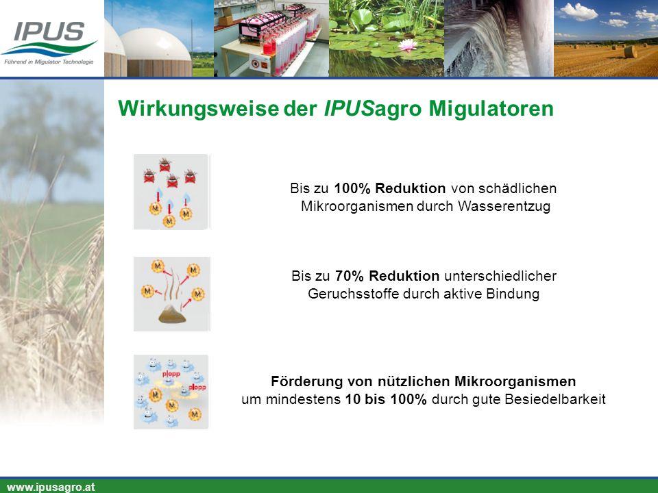 www.ipusagro.at Bis zu 100% Reduktion von schädlichen Mikroorganismen durch Wasserentzug Bis zu 70% Reduktion unterschiedlicher Geruchsstoffe durch ak