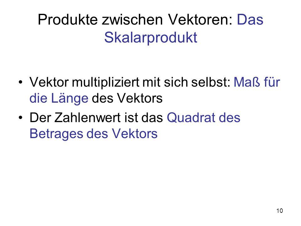 10 Produkte zwischen Vektoren: Das Skalarprodukt Vektor multipliziert mit sich selbst: Maß für die Länge des Vektors Der Zahlenwert ist das Quadrat des Betrages des Vektors