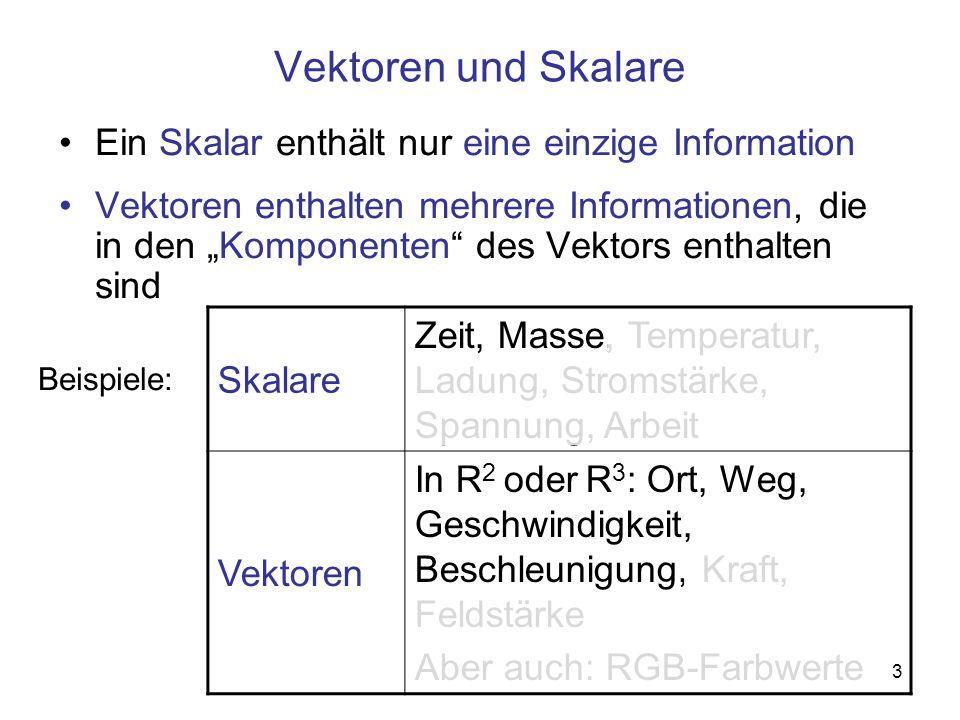 3 Vektoren und Skalare Ein Skalar enthält nur eine einzige Information Vektoren enthalten mehrere Informationen, die in den Komponenten des Vektors en