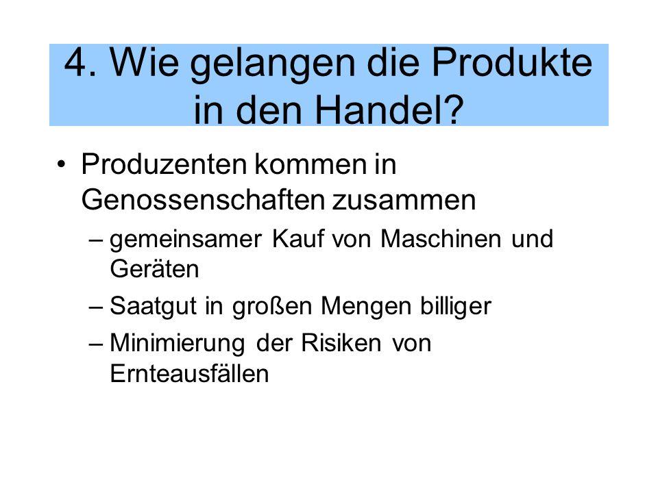 4. Wie gelangen die Produkte in den Handel? Produzenten kommen in Genossenschaften zusammen –gemeinsamer Kauf von Maschinen und Geräten –Saatgut in gr