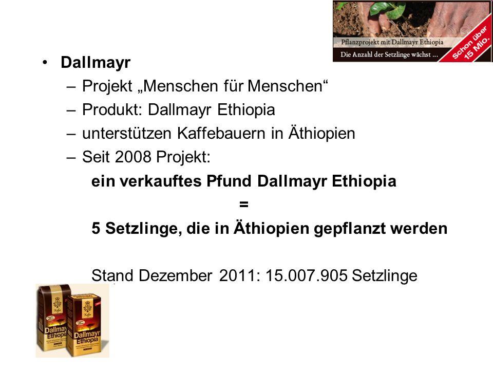 Dallmayr –Projekt Menschen für Menschen –Produkt: Dallmayr Ethiopia –unterstützen Kaffebauern in Äthiopien –Seit 2008 Projekt: ein verkauftes Pfund Da