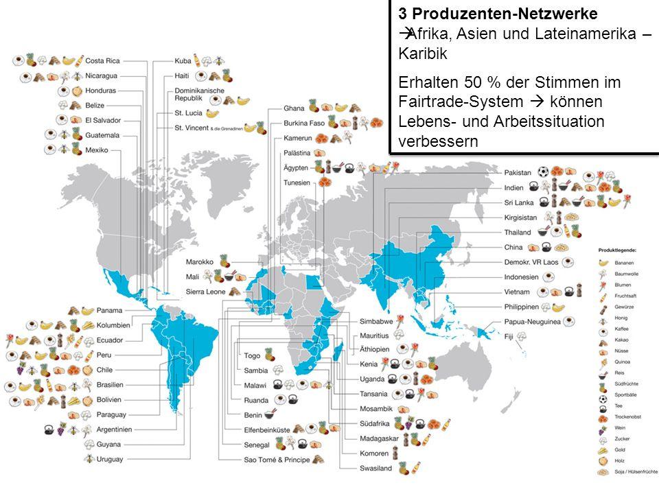 3 Produzenten-Netzwerke Afrika, Asien und Lateinamerika – Karibik Erhalten 50 % der Stimmen im Fairtrade-System können Lebens- und Arbeitssituation ve
