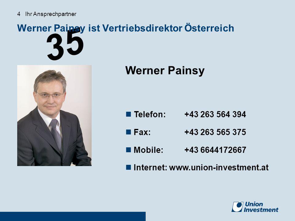 35 Werner Painsy ist Vertriebsdirektor Österreich 4 Ihr Ansprechpartner Werner Painsy Telefon:+43 263 564 394 Fax:+43 263 565 375 Mobile:+43 664417266