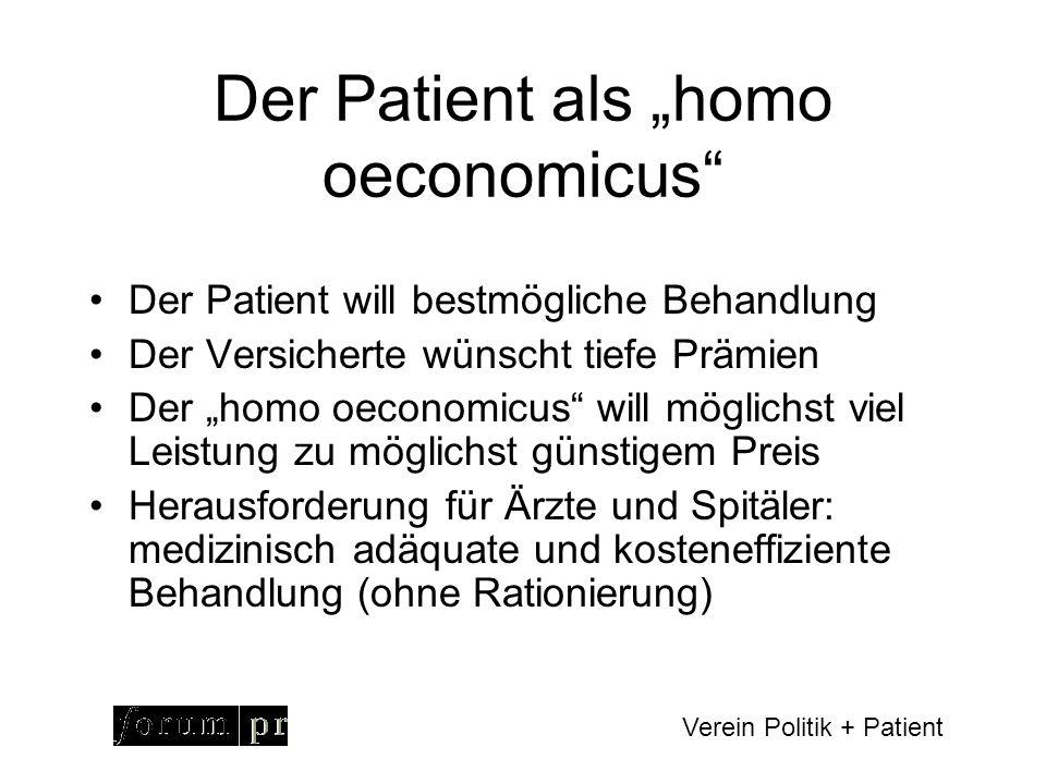 Verein Politik + Patient Effizienz = Verhältnis Leistungen zu Kosten Quelle: Beske, 2005