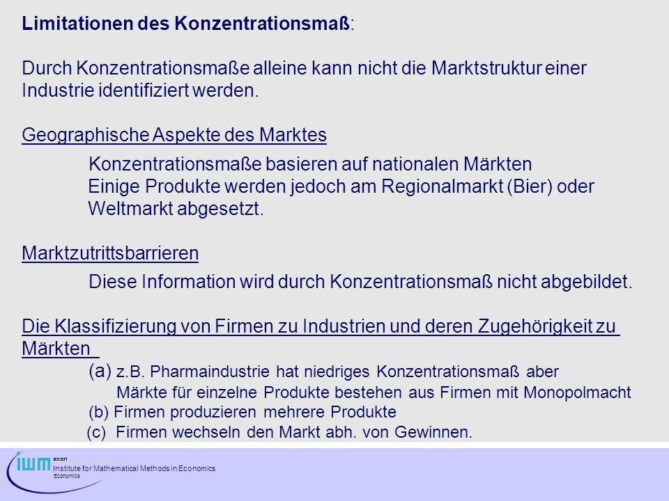 Institute for Mathematical Methods in Economics Economics Limitationen des Konzentrationsmaß: Durch Konzentrationsmaße alleine kann nicht die Marktstr