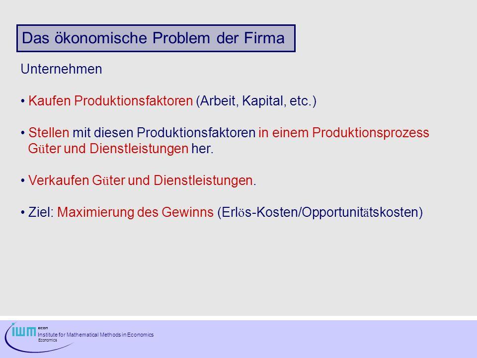 Institute for Mathematical Methods in Economics Economics Das ökonomische Problem der Firma Unternehmen Kaufen Produktionsfaktoren (Arbeit, Kapital, e