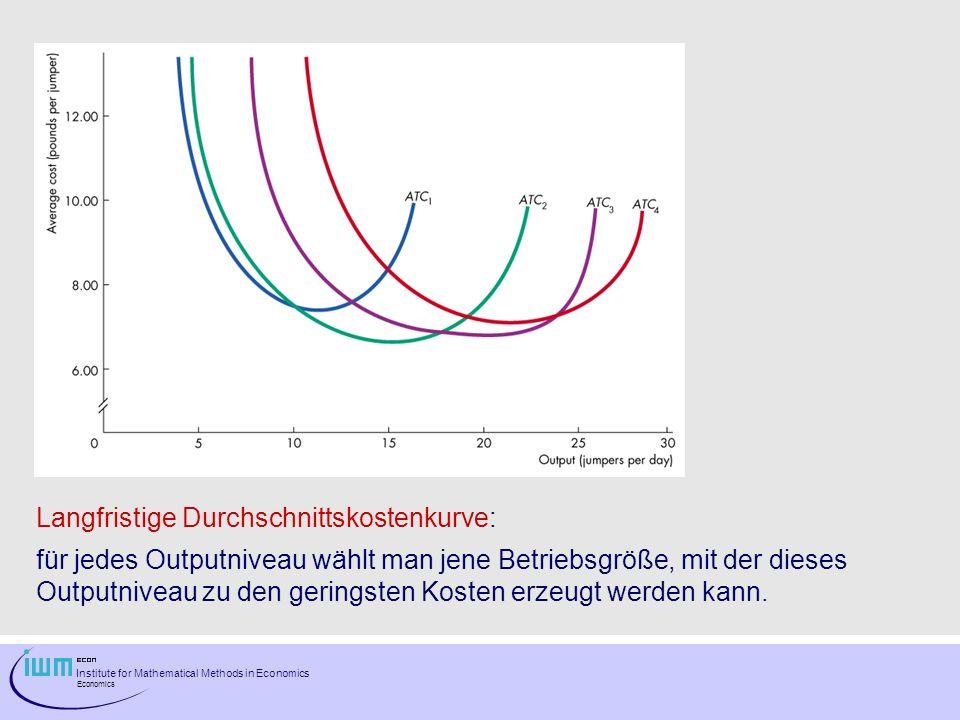 Institute for Mathematical Methods in Economics Economics Langfristige Durchschnittskostenkurve: für jedes Outputniveau wählt man jene Betriebsgröße,