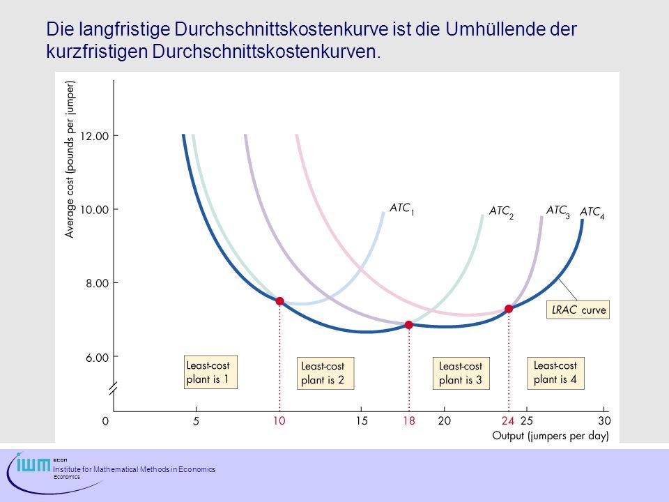 Institute for Mathematical Methods in Economics Economics Die langfristige Durchschnittskostenkurve ist die Umhüllende der kurzfristigen Durchschnitts