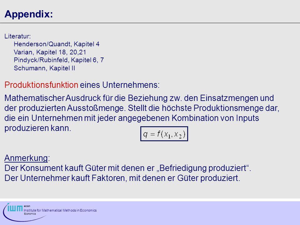 Institute for Mathematical Methods in Economics Economics Appendix: Literatur: Henderson/Quandt, Kapitel 4 Varian, Kapitel 18, 20,21 Pindyck/Rubinfeld