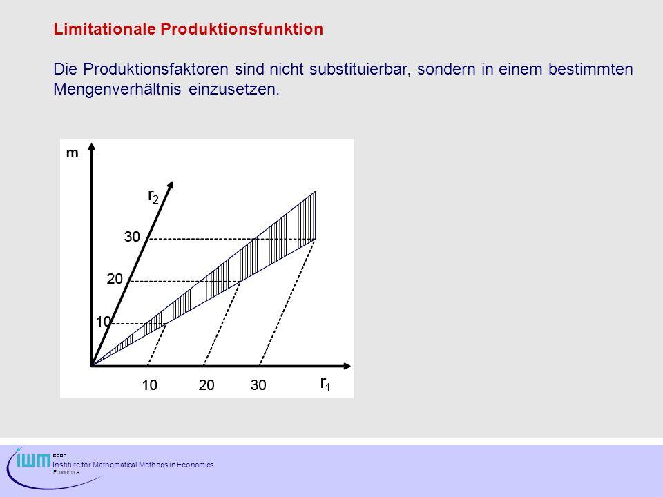 Institute for Mathematical Methods in Economics Economics Limitationale Produktionsfunktion Die Produktionsfaktoren sind nicht substituierbar, sondern