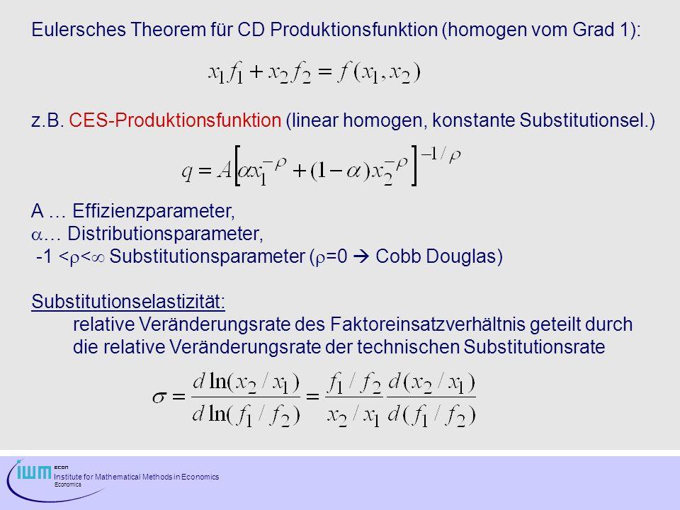 Institute for Mathematical Methods in Economics Economics Eulersches Theorem für CD Produktionsfunktion (homogen vom Grad 1): z.B. CES-Produktionsfunk