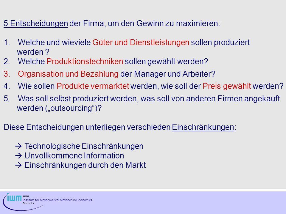 Institute for Mathematical Methods in Economics Economics Eulersches Theorem für CD Produktionsfunktion (homogen vom Grad 1): z.B.