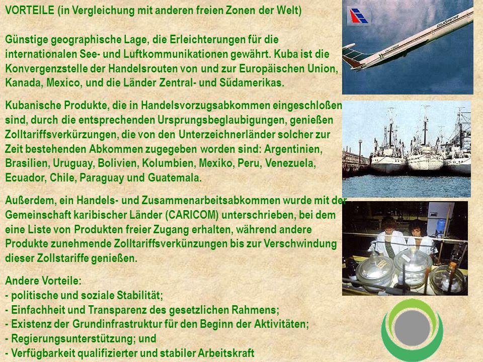 VORTEILE (in Vergleichung mit anderen freien Zonen der Welt) Günstige geographische Lage, die Erleichterungen für die internationalen See- und Luftkommunikationen gewährt.