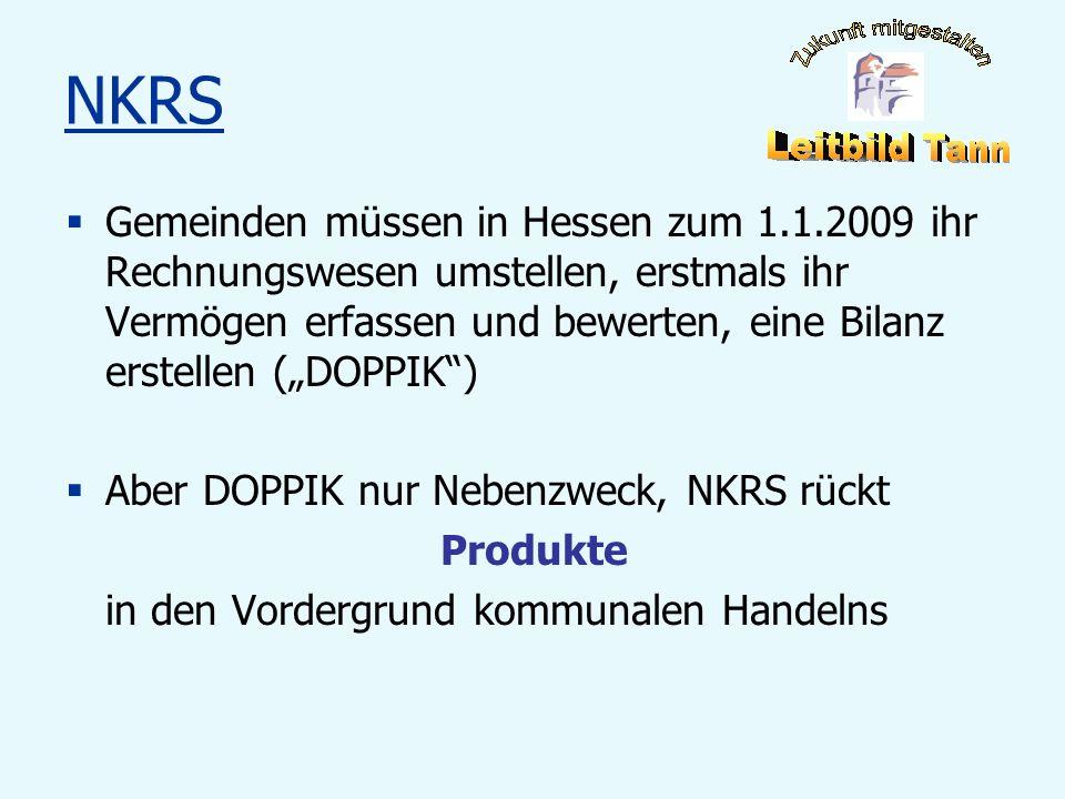 NKRS Gemeinden müssen in Hessen zum 1.1.2009 ihr Rechnungswesen umstellen, erstmals ihr Vermögen erfassen und bewerten, eine Bilanz erstellen (DOPPIK)