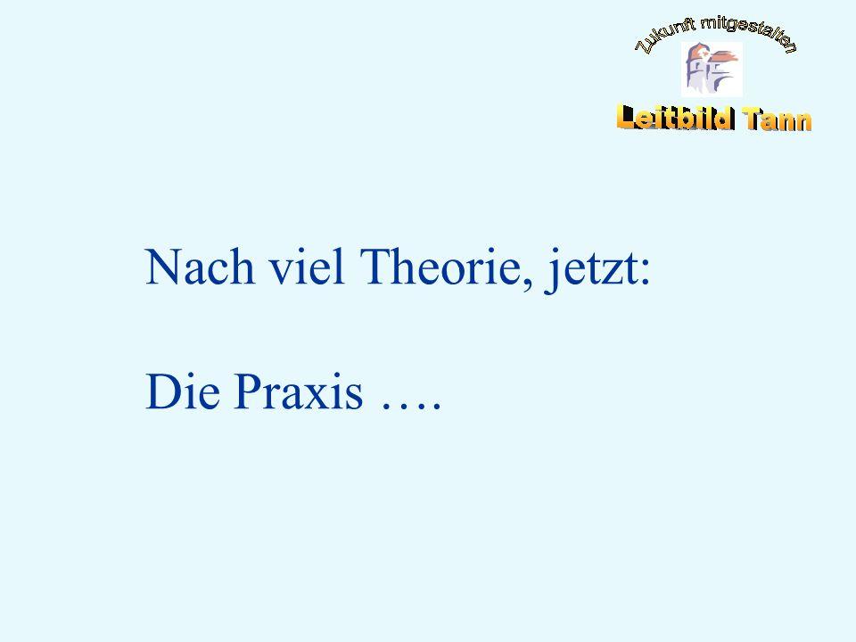 Nach viel Theorie, jetzt: Die Praxis ….