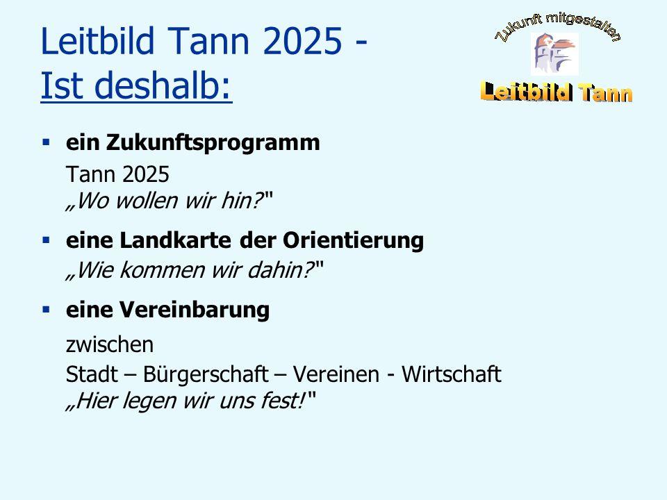 Leitbild Tann 2025 - Ist deshalb: ein Zukunftsprogramm Tann 2025 Wo wollen wir hin? eine Landkarte der Orientierung Wie kommen wir dahin? eine Vereinb