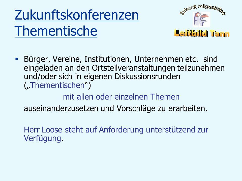 Zukunftskonferenzen Thementische Bürger, Vereine, Institutionen, Unternehmen etc. sind eingeladen an den Ortsteilveranstaltungen teilzunehmen und/oder