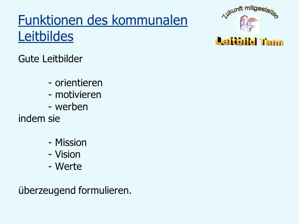 Funktionen des kommunalen Leitbildes Gute Leitbilder - orientieren - motivieren - werben indem sie - Mission - Vision - Werte überzeugend formulieren.
