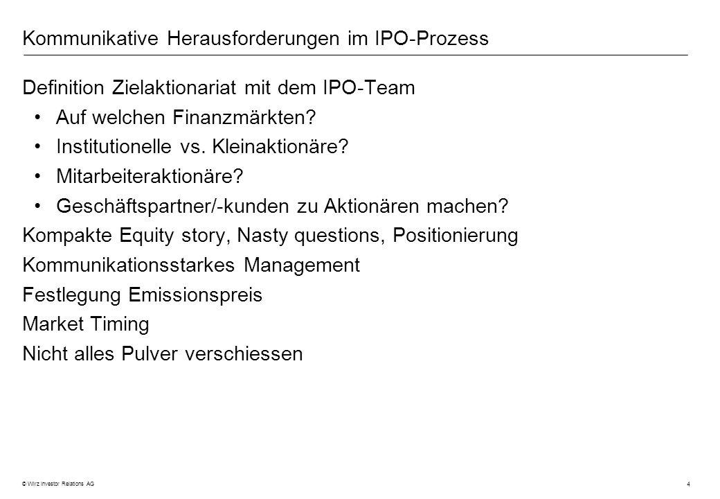4 © Wirz Investor Relations AG Kommunikative Herausforderungen im IPO-Prozess Definition Zielaktionariat mit dem IPO-Team Auf welchen Finanzmärkten? I