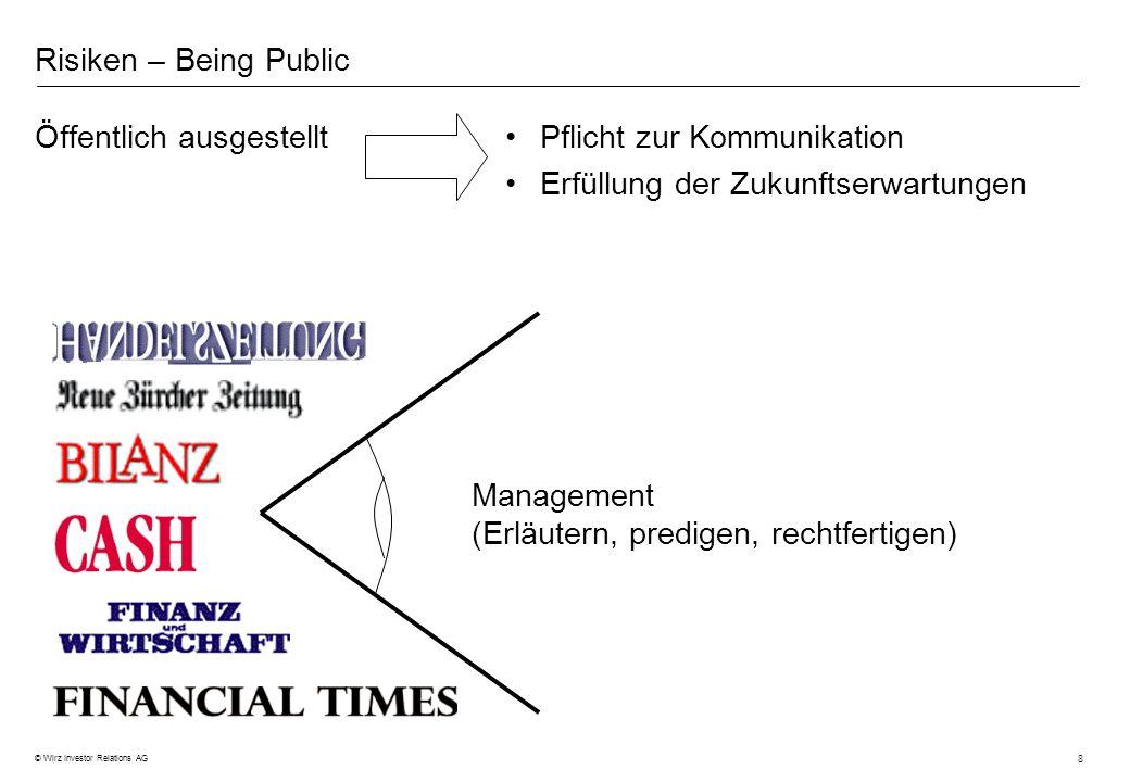 8 © Wirz Investor Relations AG Risiken – Being Public Öffentlich ausgestelltPflicht zur Kommunikation Erfüllung der Zukunftserwartungen Management (Er