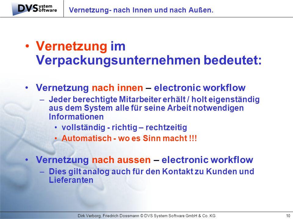 Dirk Verborg, Friedrich Dossmann © DVS System Software GmbH & Co. KG10 Vernetzung- nach Innen und nach Außen. Vernetzung im Verpackungsunternehmen bed