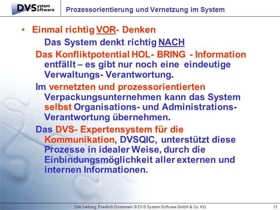 Dirk Verborg, Friedrich Dossmann © DVS System Software GmbH & Co. KG11 Prozessorientierung und Vernetzung im System Einmal richtig VOR- Denken Das Sys