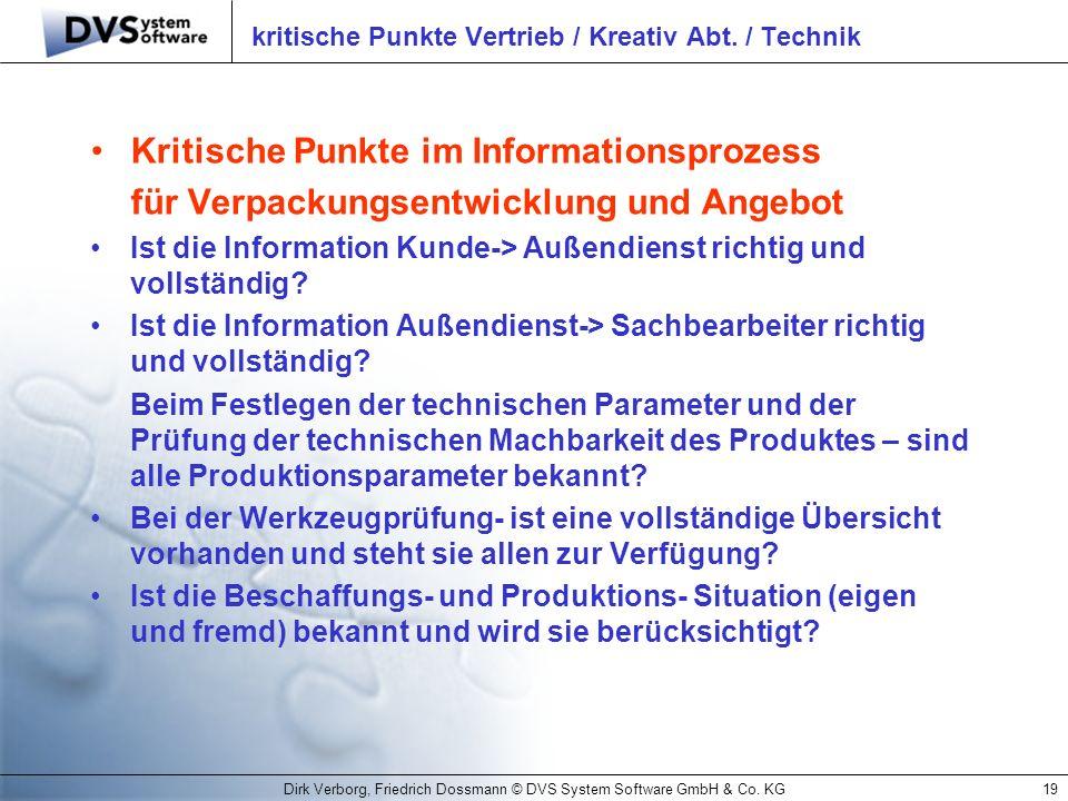 Dirk Verborg, Friedrich Dossmann © DVS System Software GmbH & Co. KG19 kritische Punkte Vertrieb / Kreativ Abt. / Technik Kritische Punkte im Informat