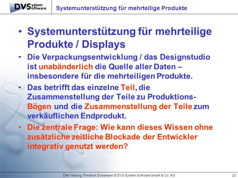 Dirk Verborg, Friedrich Dossmann © DVS System Software GmbH & Co. KG23 Systemunterstützung für mehrteilige Produkte Systemunterstützung für mehrteilig