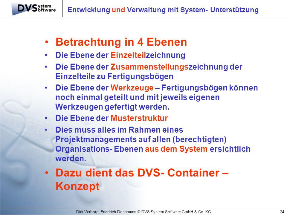 Dirk Verborg, Friedrich Dossmann © DVS System Software GmbH & Co. KG24 Entwicklung und Verwaltung mit System- Unterstützung Betrachtung in 4 Ebenen Di