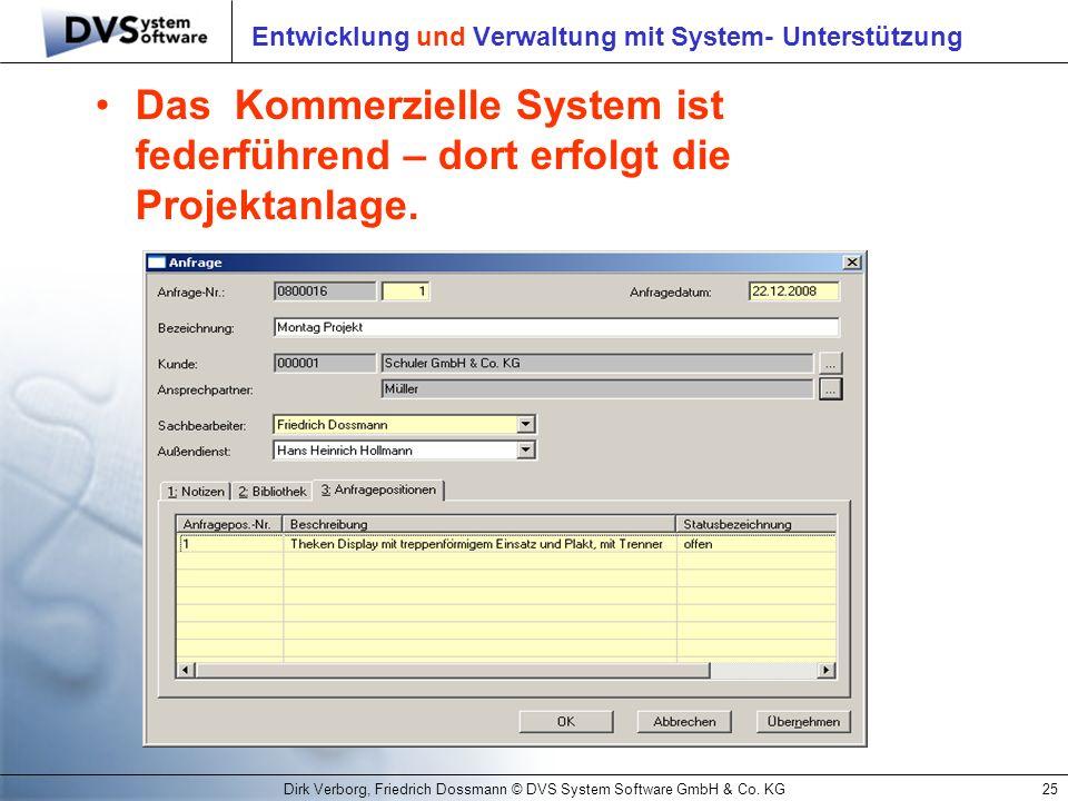 Dirk Verborg, Friedrich Dossmann © DVS System Software GmbH & Co. KG25 Entwicklung und Verwaltung mit System- Unterstützung Das Kommerzielle System is
