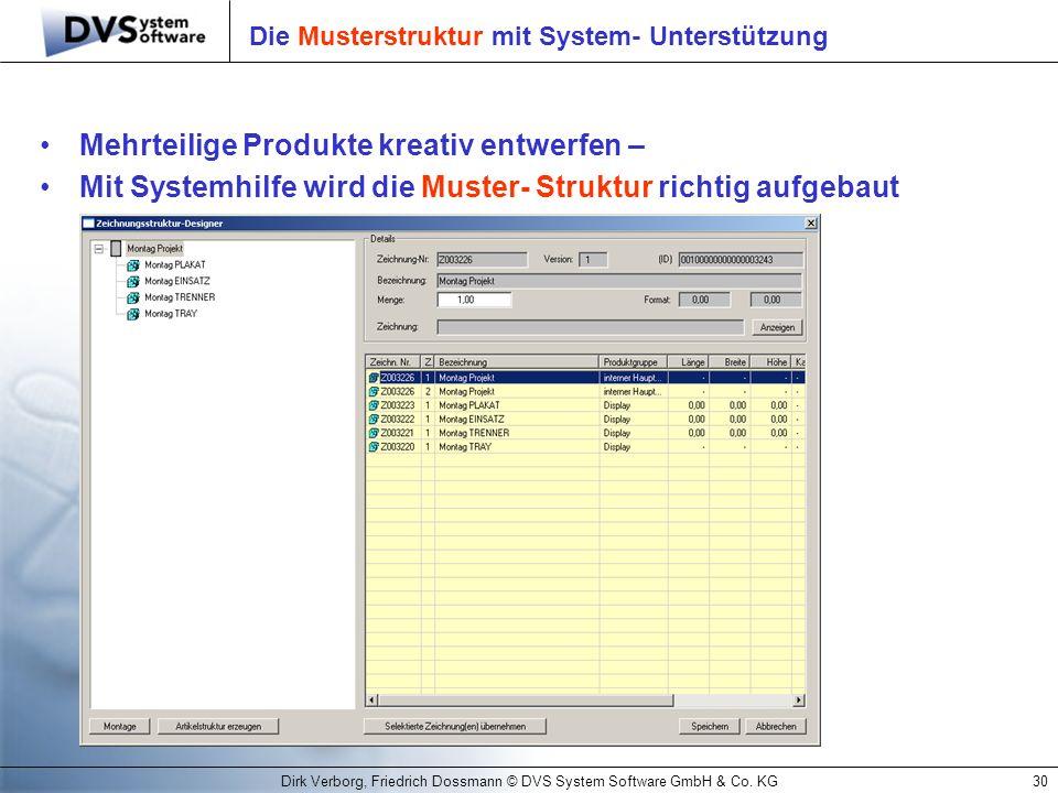 Dirk Verborg, Friedrich Dossmann © DVS System Software GmbH & Co. KG30 Die Musterstruktur mit System- Unterstützung Mehrteilige Produkte kreativ entwe