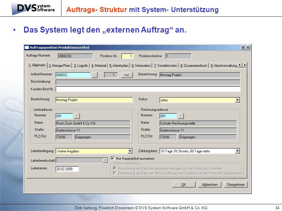 Dirk Verborg, Friedrich Dossmann © DVS System Software GmbH & Co. KG34 Auftrags- Struktur mit System- Unterstützung Das System legt den externen Auftr