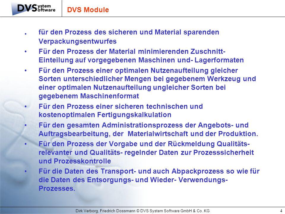 Dirk Verborg, Friedrich Dossmann © DVS System Software GmbH & Co. KG4 DVS Module. für den Prozess des sicheren und Material sparenden Verpackungsentwu