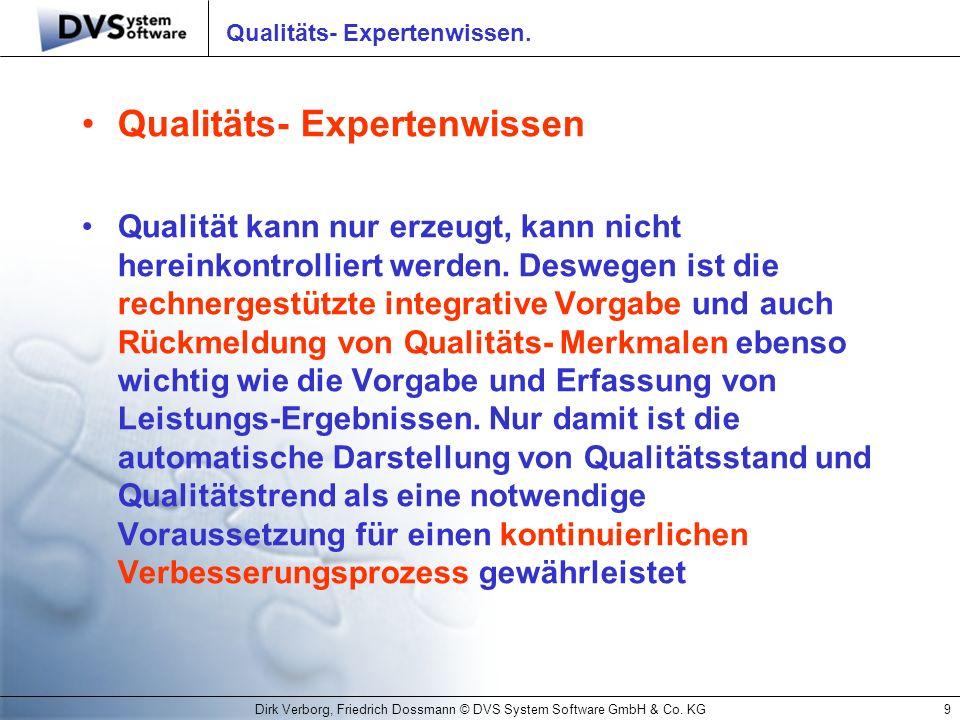 Dirk Verborg, Friedrich Dossmann © DVS System Software GmbH & Co. KG9 Qualitäts- Expertenwissen. Qualitäts- Expertenwissen Qualität kann nur erzeugt,