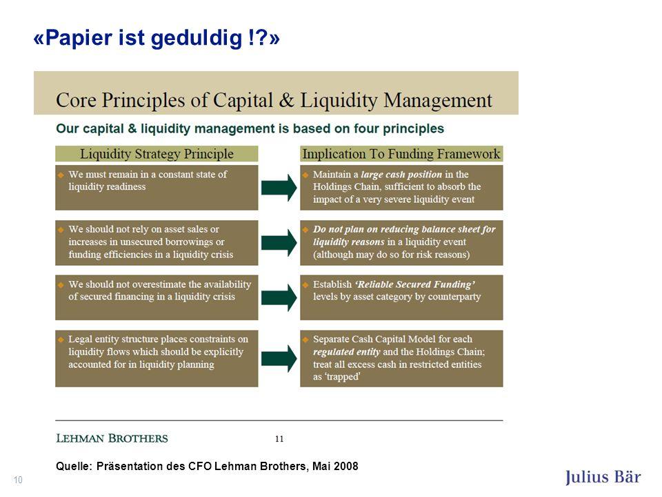 «Papier ist geduldig !?» 10 Quelle: Präsentation des CFO Lehman Brothers, Mai 2008