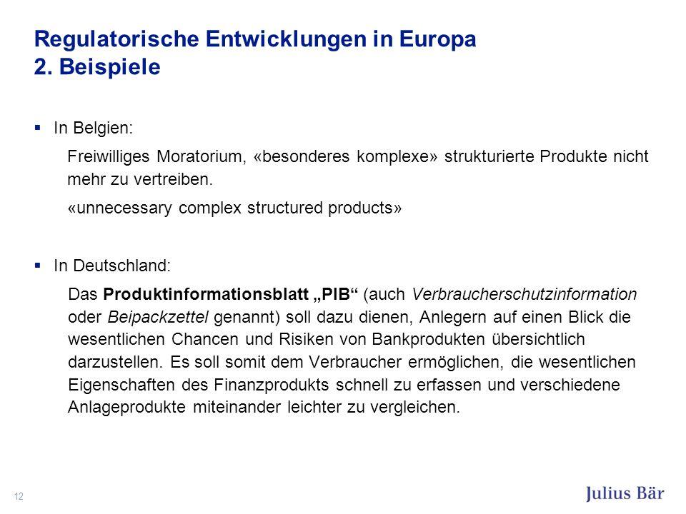 Regulatorische Entwicklungen in Europa 2. Beispiele In Belgien: Freiwilliges Moratorium, «besonderes komplexe» strukturierte Produkte nicht mehr zu ve