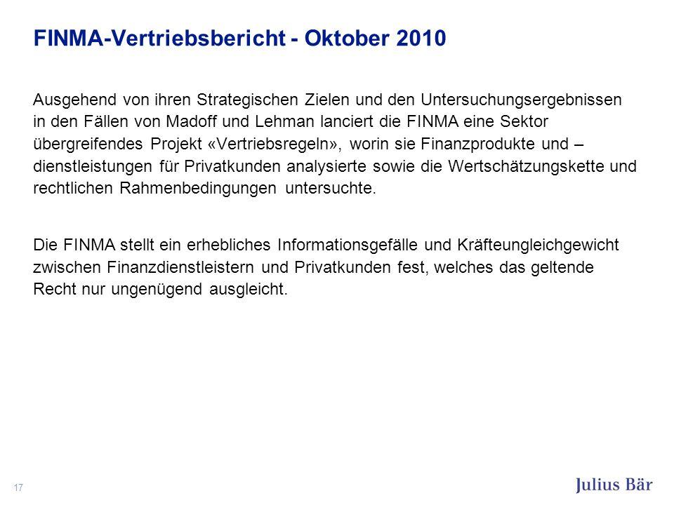 FINMA-Vertriebsbericht - Oktober 2010 Ausgehend von ihren Strategischen Zielen und den Untersuchungsergebnissen in den Fällen von Madoff und Lehman la