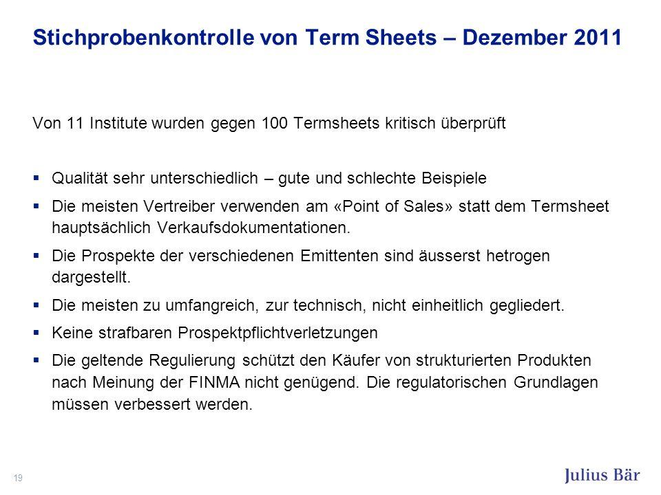 Stichprobenkontrolle von Term Sheets – Dezember 2011 Von 11 Institute wurden gegen 100 Termsheets kritisch überprüft Qualität sehr unterschiedlich – g