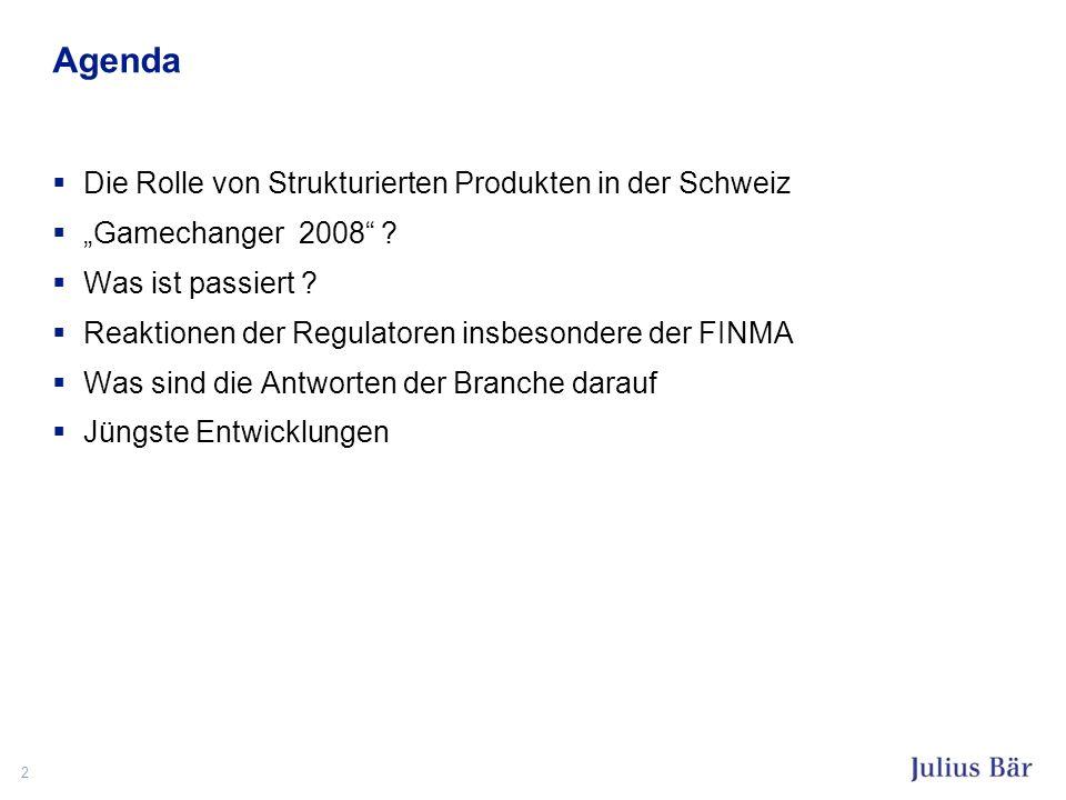 2 Agenda Die Rolle von Strukturierten Produkten in der Schweiz Gamechanger 2008 ? Was ist passiert ? Reaktionen der Regulatoren insbesondere der FINMA