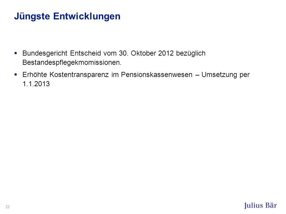 Jüngste Entwicklungen Bundesgericht Entscheid vom 30. Oktober 2012 bezüglich Bestandespflegekmomissionen. Erhöhte Kostentransparenz im Pensionskassenw