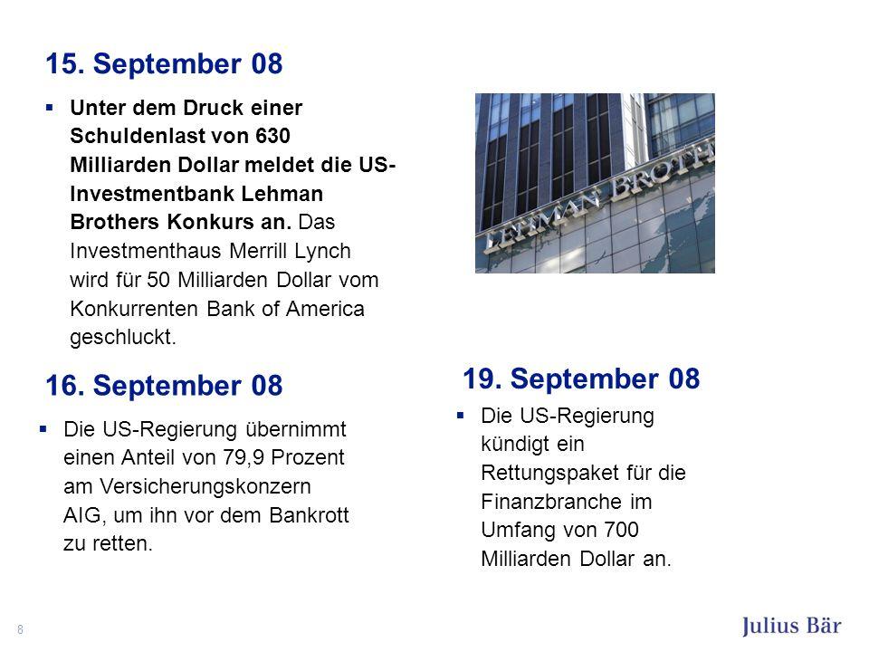 8 15. September 08 Unter dem Druck einer Schuldenlast von 630 Milliarden Dollar meldet die US- Investmentbank Lehman Brothers Konkurs an. Das Investme
