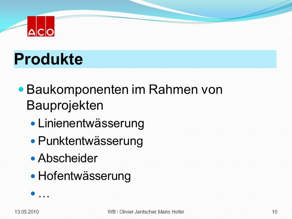 Produkte Baukomponenten im Rahmen von Bauprojekten Linienentwässerung Punktentwässerung Abscheider Hofentwässerung … 13.05.2010WB / Olivier Jantscher,