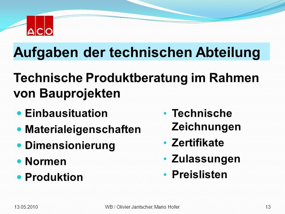 Aufgaben der technischen Abteilung Einbausituation Materialeigenschaften Dimensionierung Normen Produktion 13.05.2010WB / Olivier Jantscher, Mario Hof