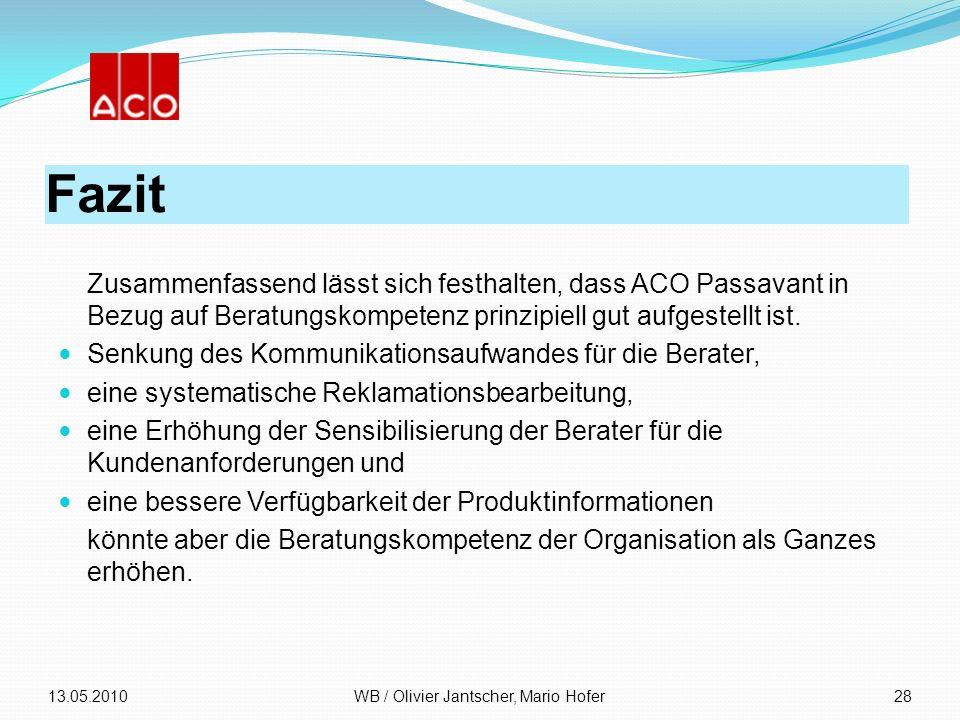 Fazit Zusammenfassend lässt sich festhalten, dass ACO Passavant in Bezug auf Beratungskompetenz prinzipiell gut aufgestellt ist. Senkung des Kommunika