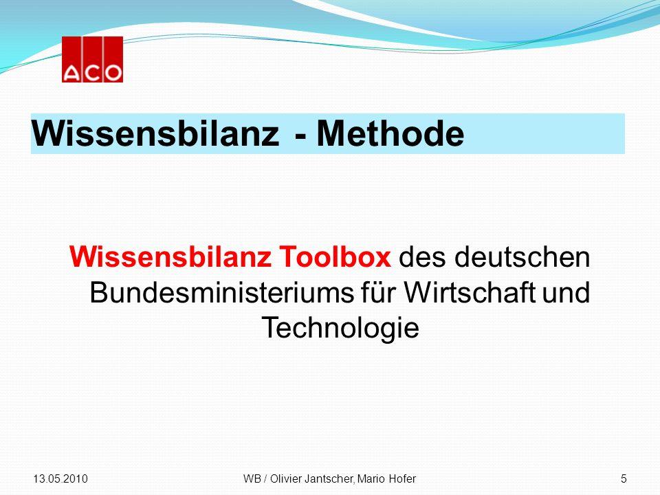 Wissensbilanz - Methode Wissensbilanz Toolbox des deutschen Bundesministeriums für Wirtschaft und Technologie 13.05.2010WB / Olivier Jantscher, Mario
