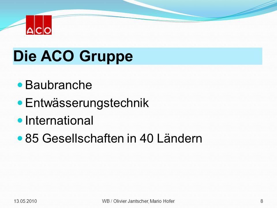 Die ACO Gruppe Baubranche Entwässerungstechnik International 85 Gesellschaften in 40 Ländern 13.05.2010WB / Olivier Jantscher, Mario Hofer8